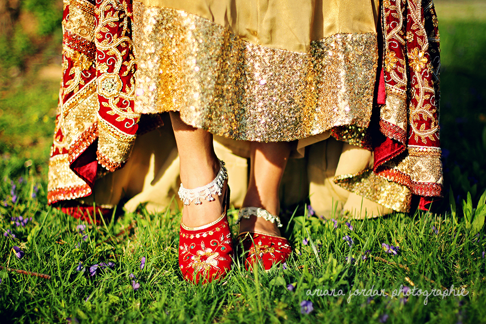 Newari hand-beaded slippers withdelicate silver anklets called  Paauju .