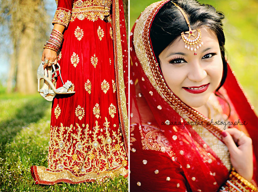 This gown is velvet, hand beaded, and weighs a ton. Not to mention breathtaking! It's called a  Lehenga Choli  and the shawl is called a  dupatta.