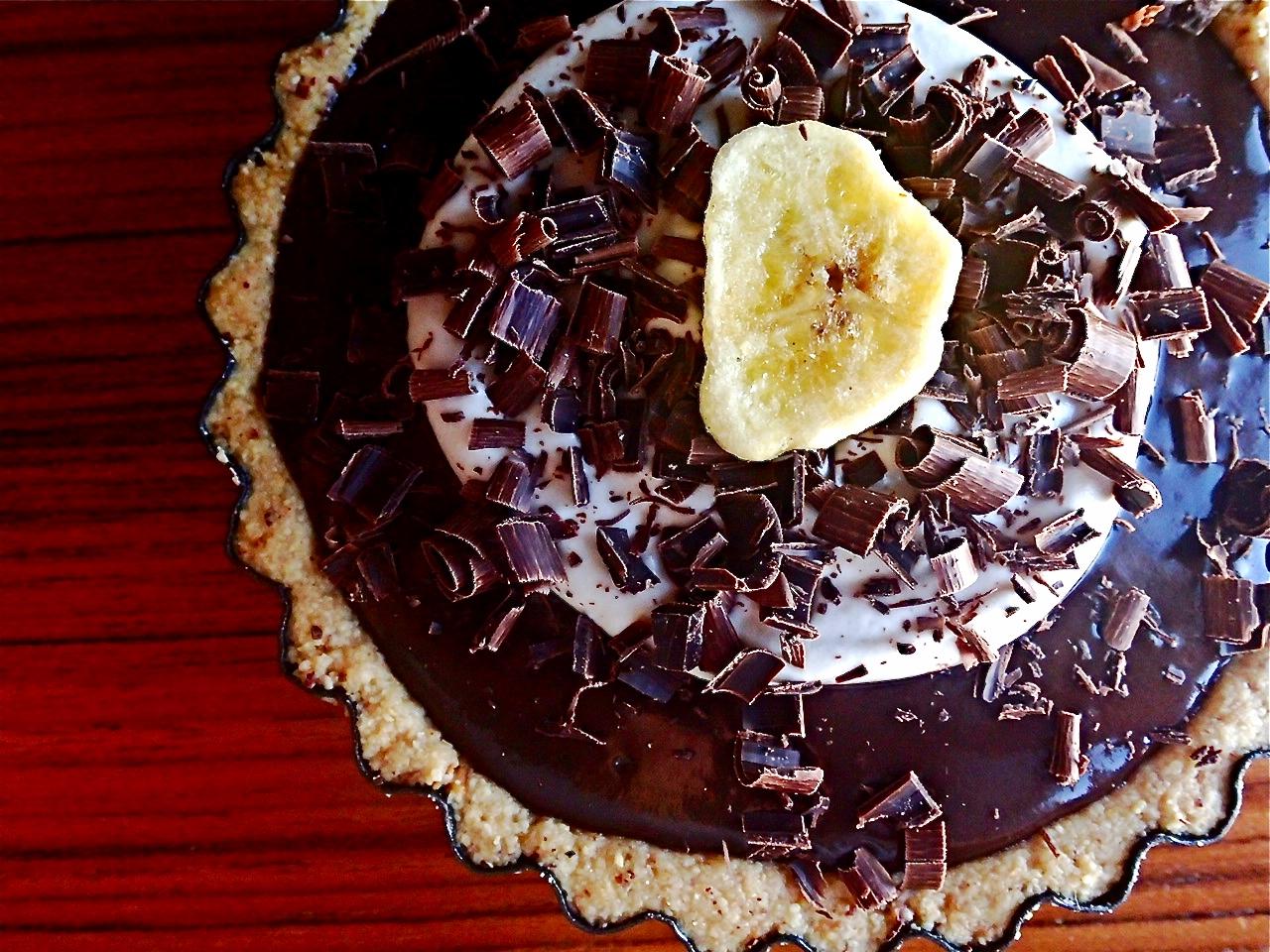 Vegan Chocolate Banana Cream Tart