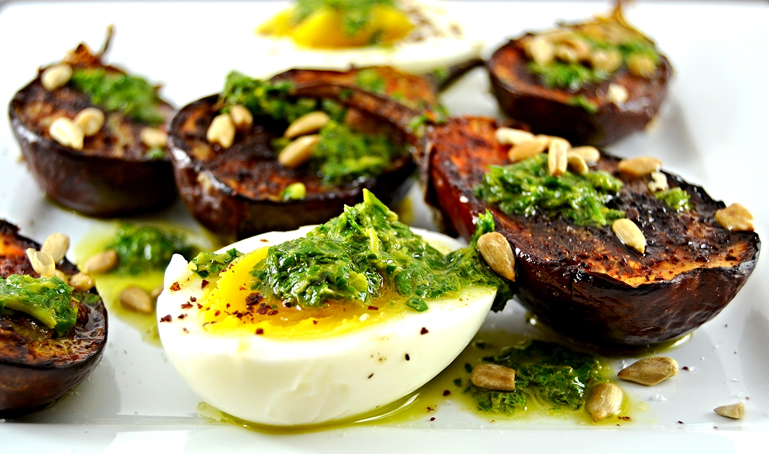 Sumac Roasted Eggplants with Salsa Verde