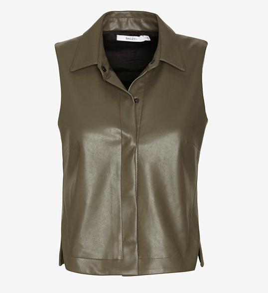 BAILEY 44 crop leather-like sleeveless shirt