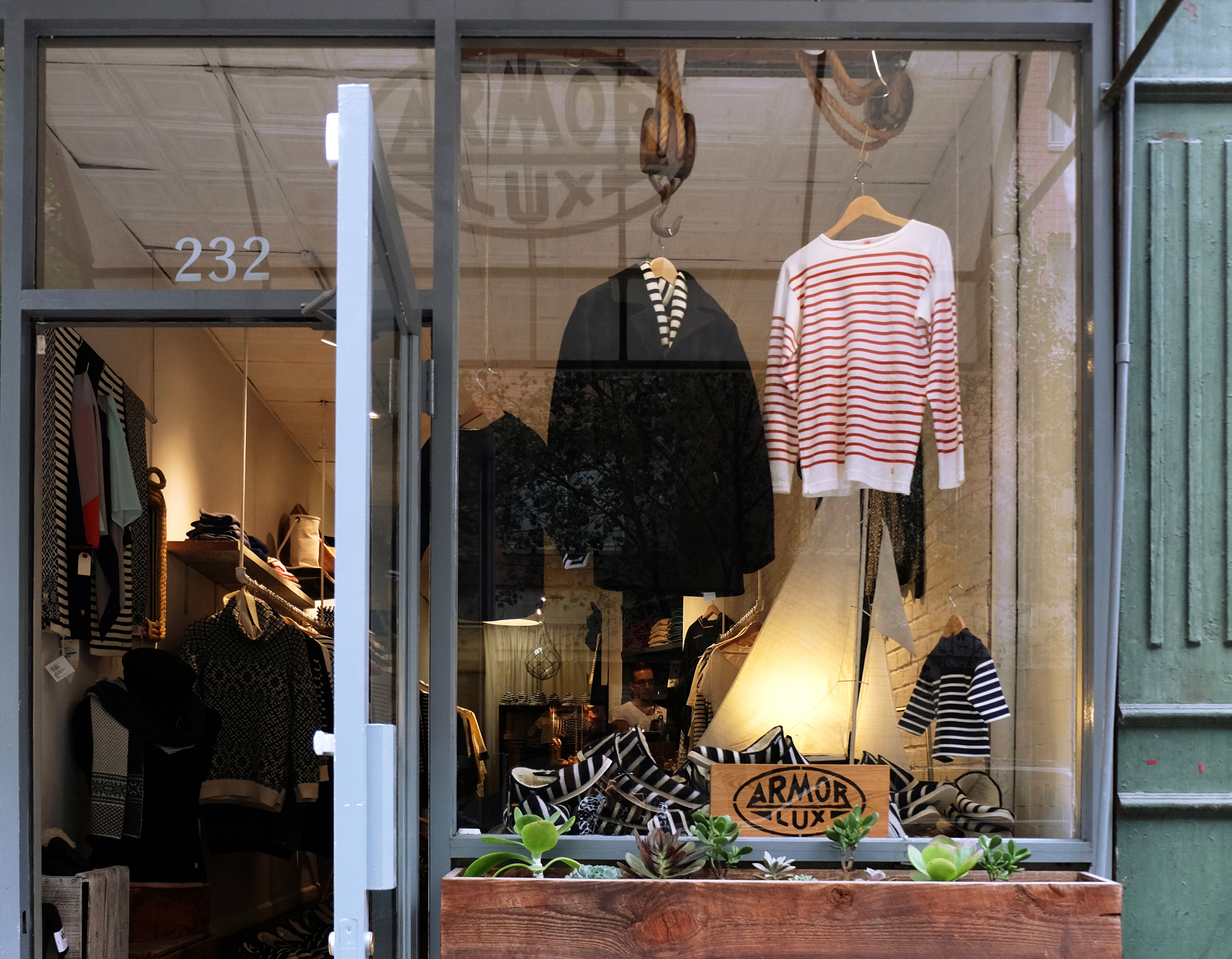 Armor Lux  /232 Mulberry Street. New York, NY 10012 /917-261-5567  You can find some iconic breton striped tees and sweaters here. But I tend to gravitate towards the Stutterheims and the Grundens at this store. They're also one of the rarer stores that carry  Samuji , a brand I have been on the look out for.