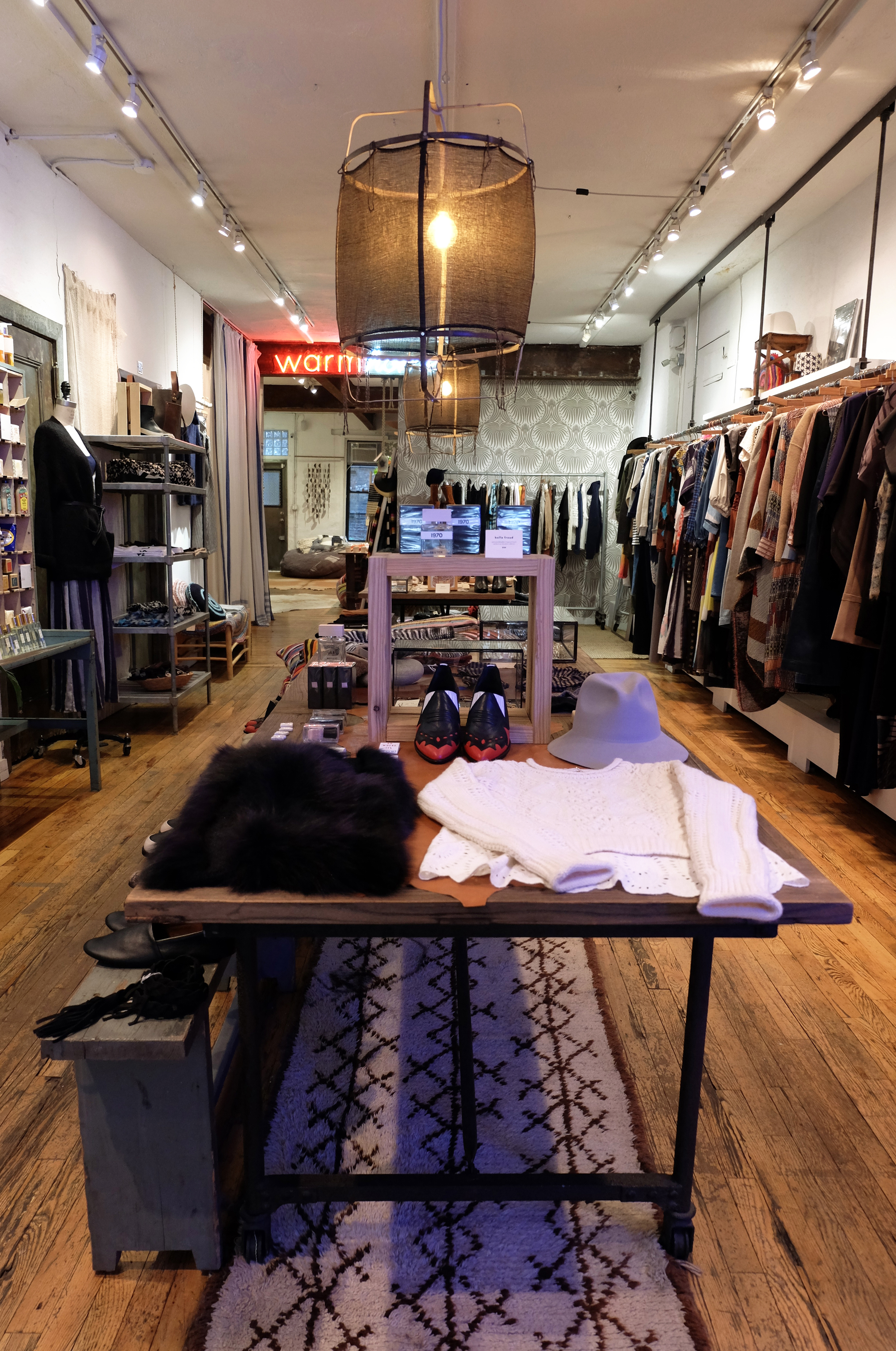 Warm  / 181 Mott Street. New York, NY 10012 / 212-925-1200  Ryan Roche wool suede hats? Roseanna print and textures? Giada Forte jackets,Mother Jeans, and Raquel Allegra tie-dye? Yes please!