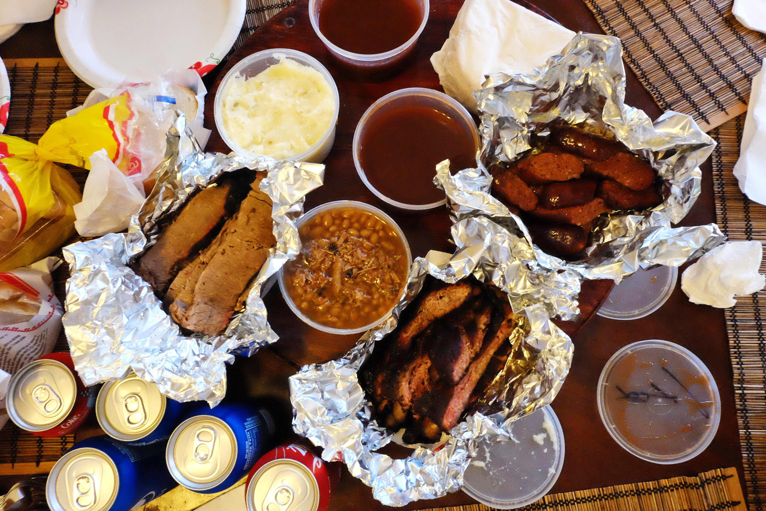 In Dallas I ...got messy in  Meshack's BBQ Shack .