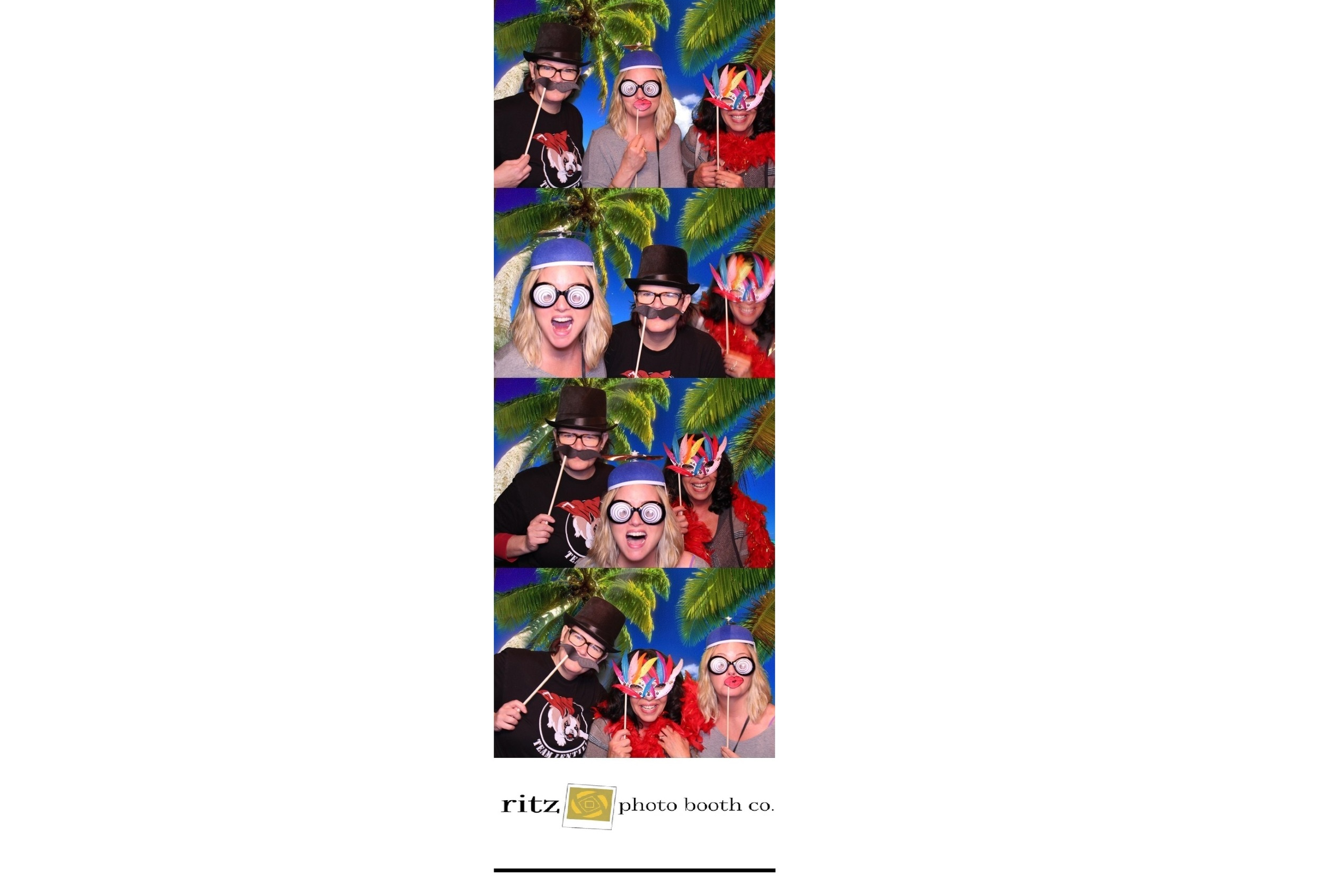 photo booth 2x6 photostrip with tropical green screen backdrop