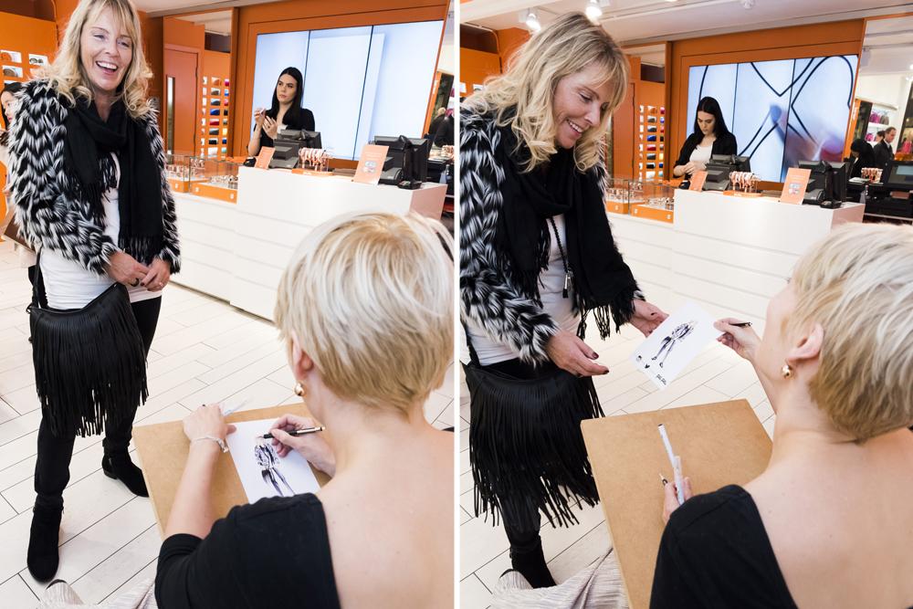 Live fashion illustration event Folli Follie | Willa Gebbie