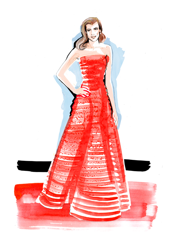 Fashion Illustration | Red Carpet | Watercolour | London based illustrator Willa Gebbie