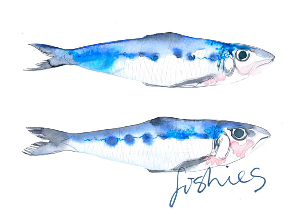 Food Illustration | Watercolour | Fish | Recipe | London based illustrator Willa Gebbie