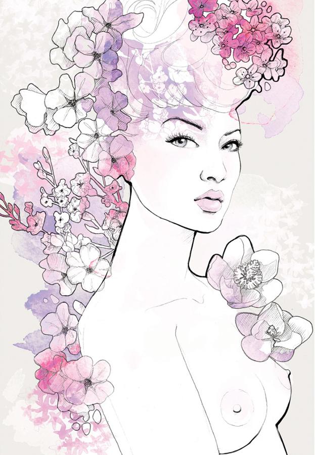 Floral Illustration | Figurative | Packaging | Beauty | Feminine | London based illustrator Willa Gebbie