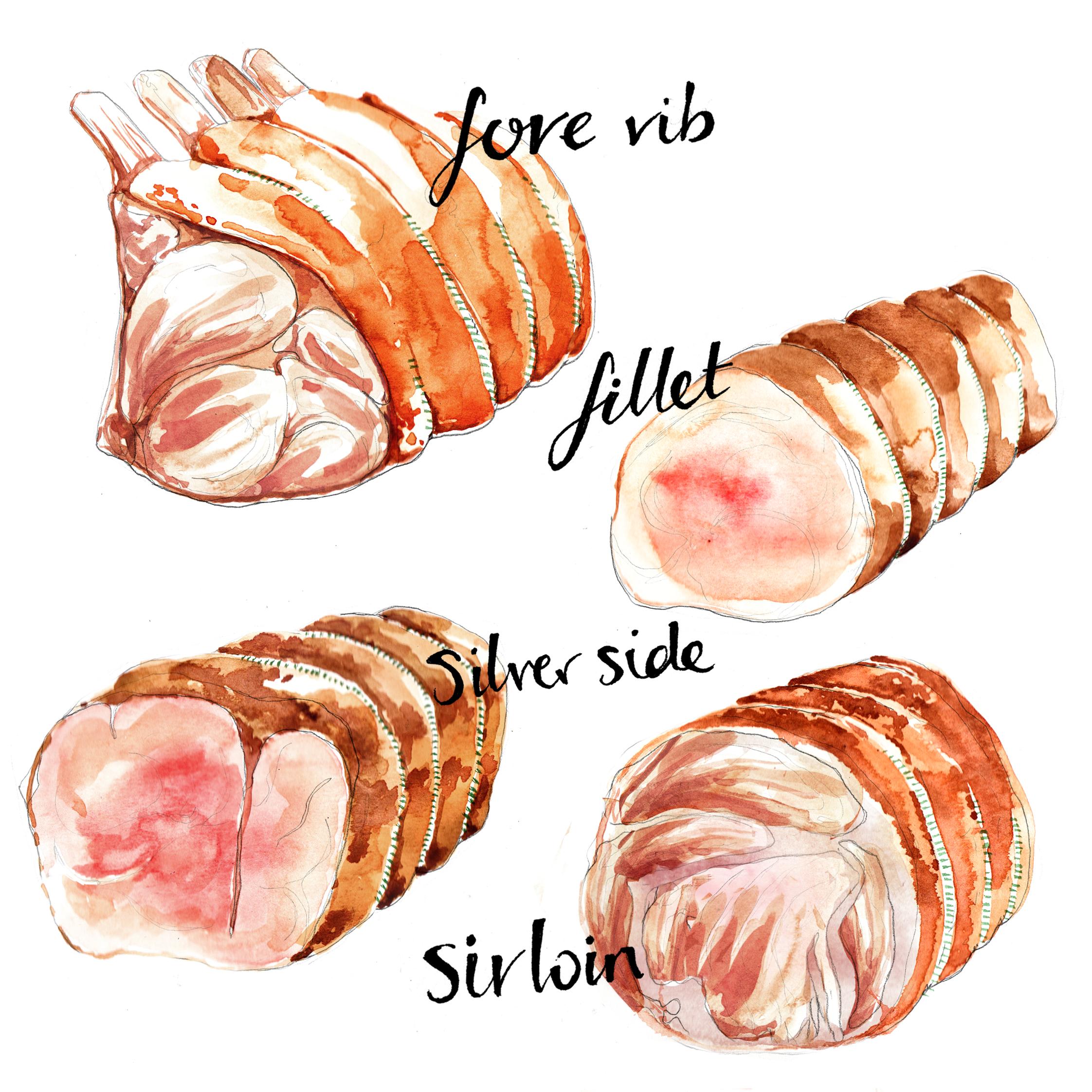 Food Illustration | Watercolour | Meat | London based illustrator Willa Gebbie