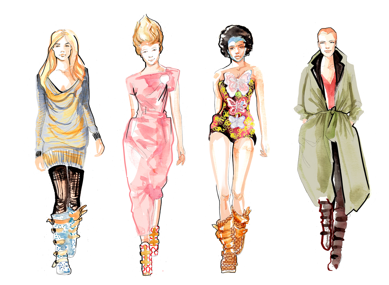 Fashion Illustration | Catwalk | Watercolour | London based illustrator Willa Gebbie