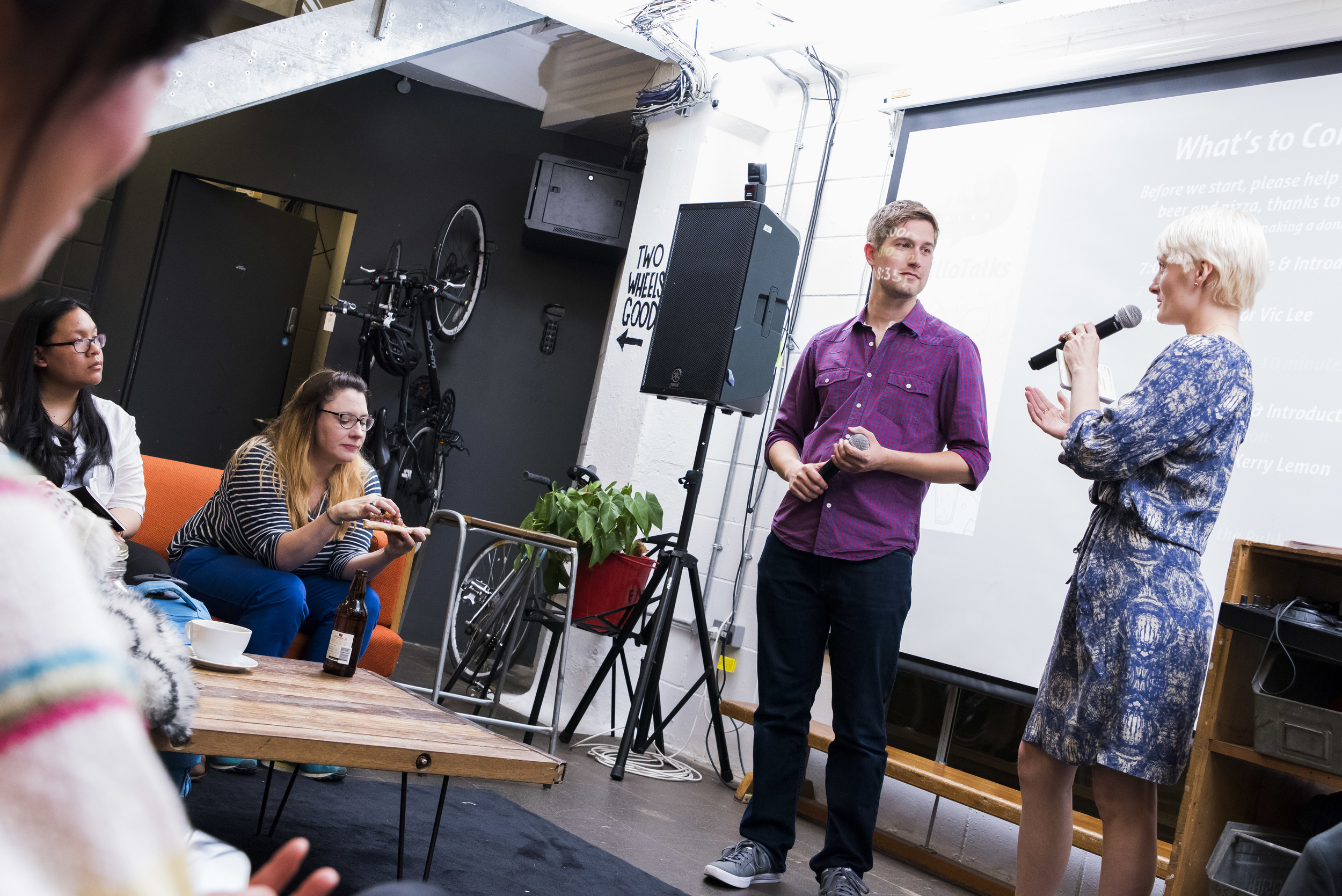 Rob Barrett and Willa Gebbie hosting at Yo Illo Talks - llustration events in London