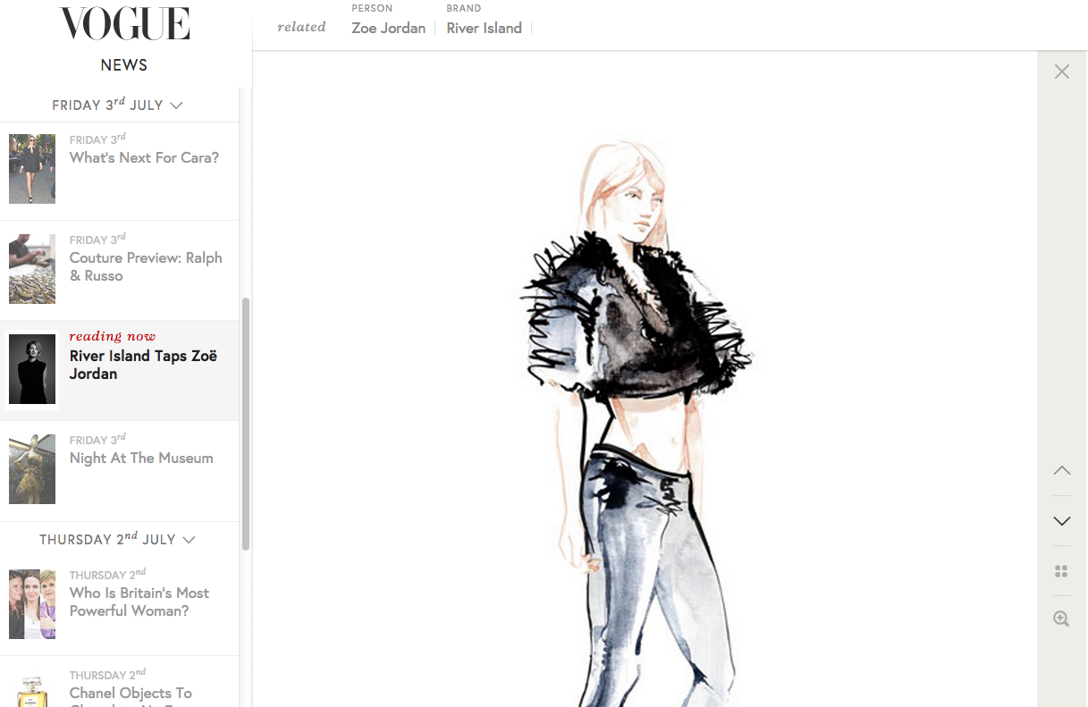 Willa Gebbie fashion illustrations for River Island X Zoë Jordan - as seen in Vogue