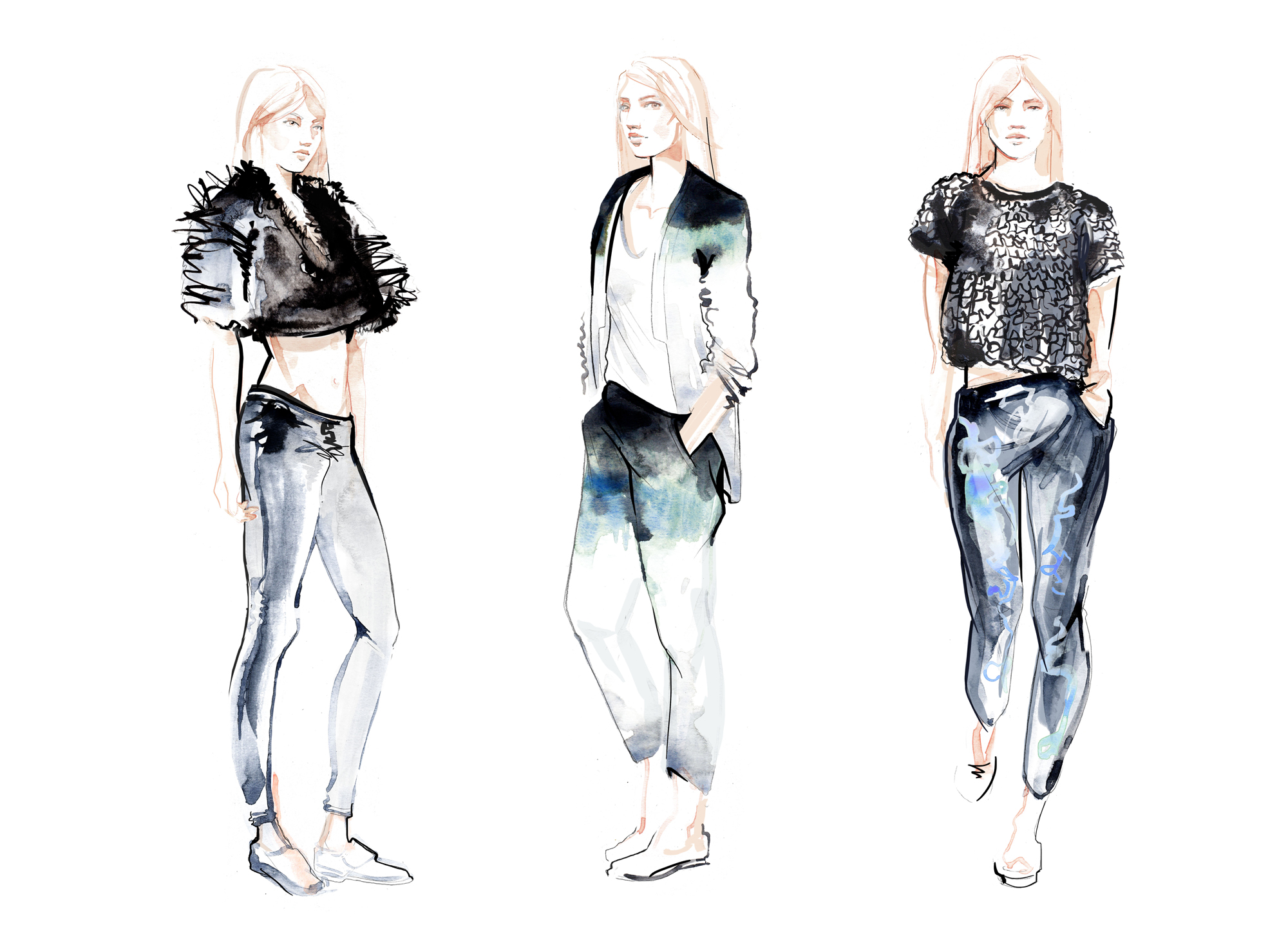 Willa Gebbie fashion illustrations for River Island X Zoë Jordan