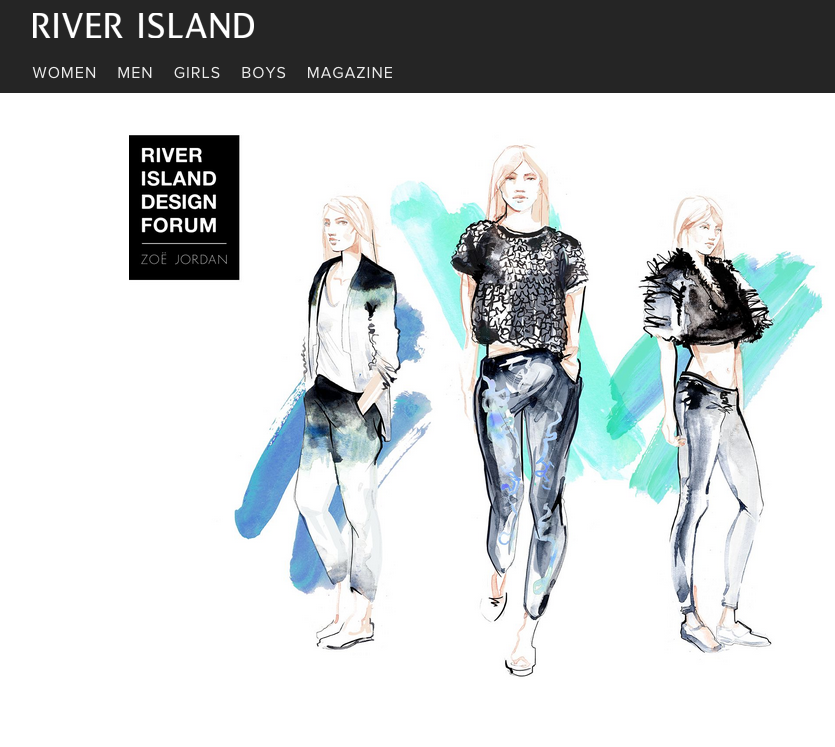Willa Gebbie fashion illustrations for River Island X Zoë Jordan - as seen on River Island
