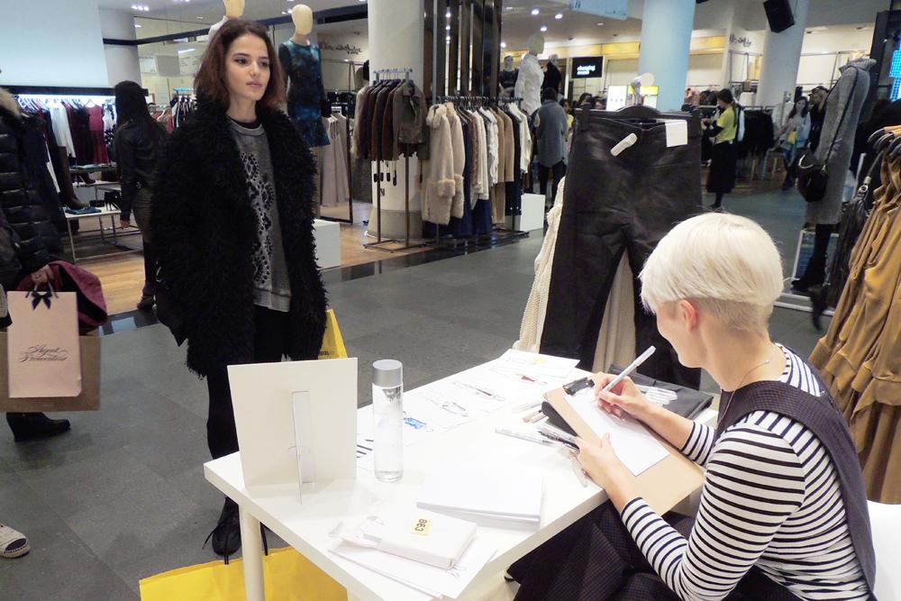 Live Fashion Illustration at H&M Selfridges