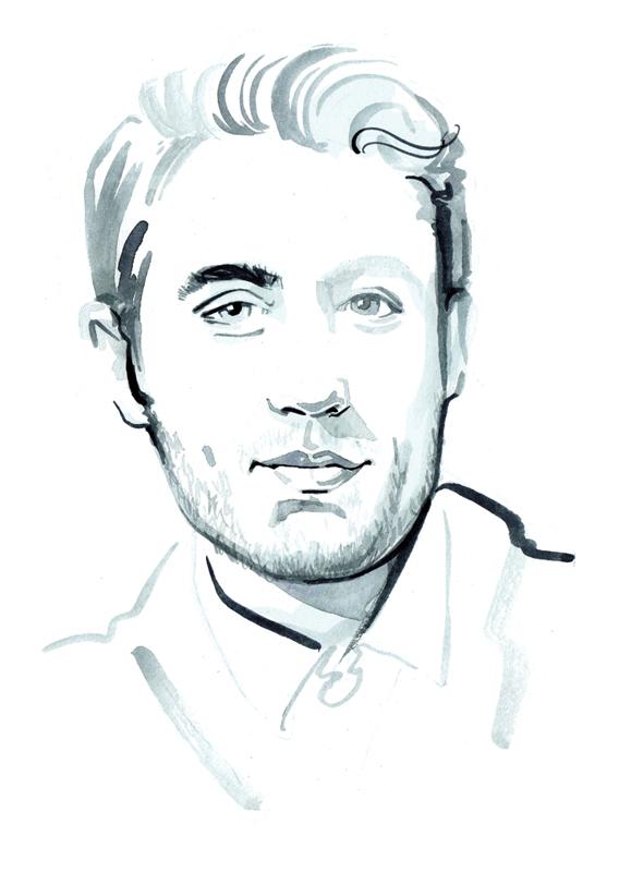 B&W painterly portrait illustration
