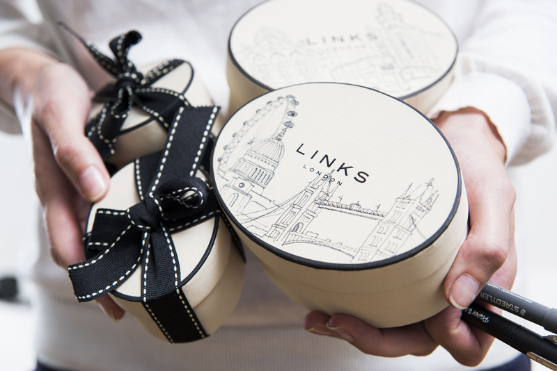 Bespoke, hand-drawn packaging for Links of London at Harrods