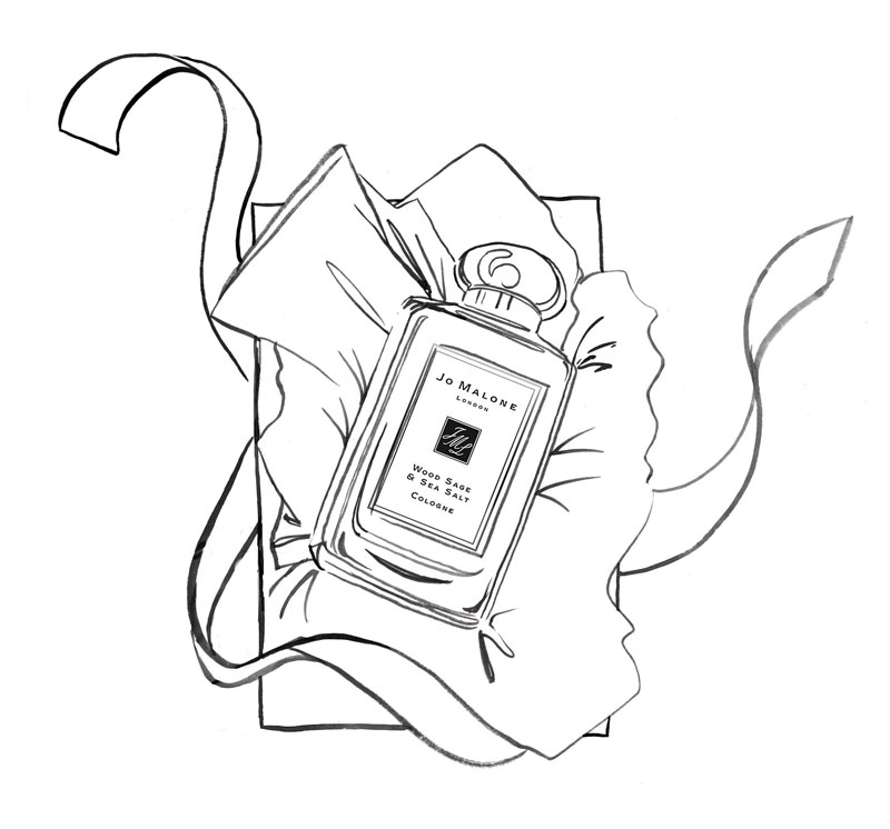b&w linear perfume illustration
