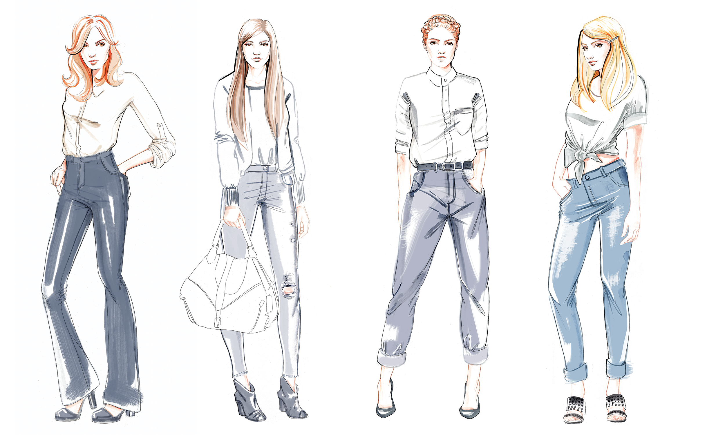 Diesel Fashion denim illustrations by Willa Gebbie