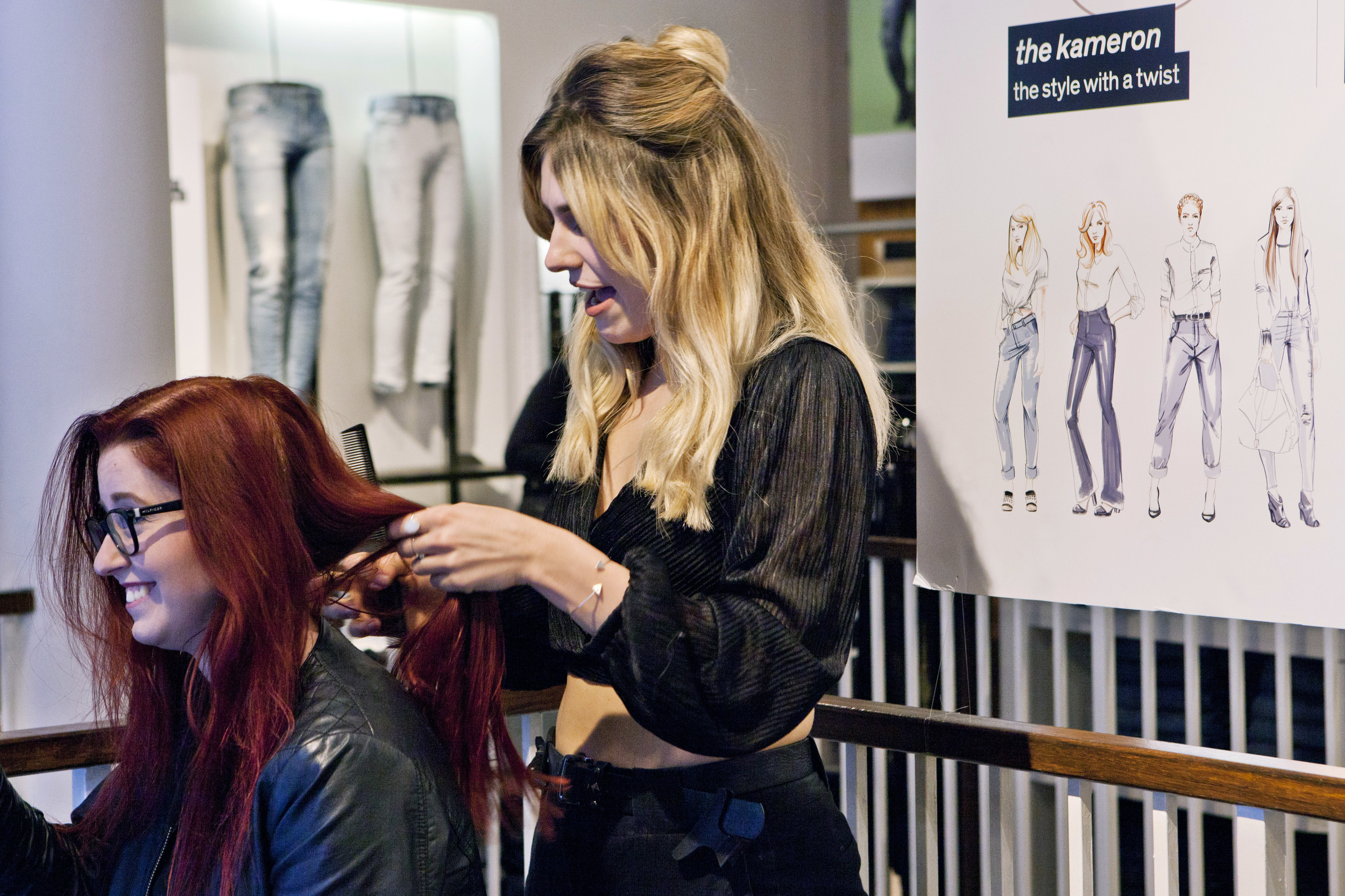 Hair stylist at Diesel In-store Event Glasgow