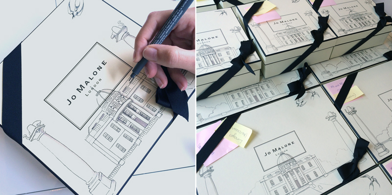 Jo Malone boxes hand drawn illustrated