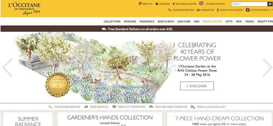 L'Occitanes website header featuring Willa Gebbie garden illustration