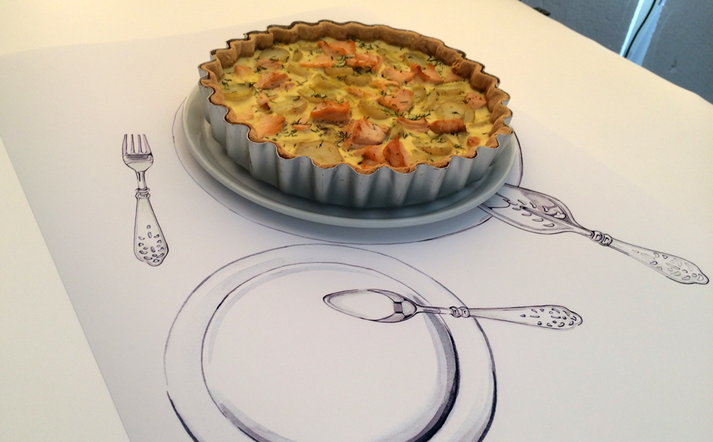 Illustrations and food together