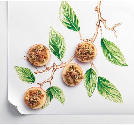 Willa Gebbie watercolour  food illustration for M&S, photography collaboration.
