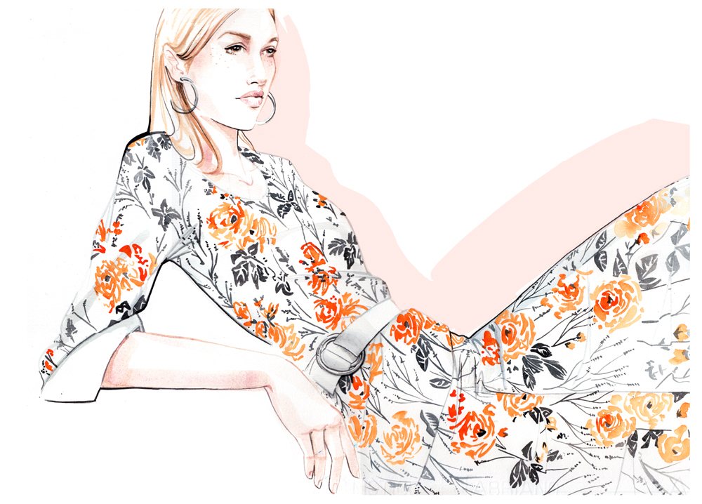 Fashion illustration by illustrator, Willa Gebbie