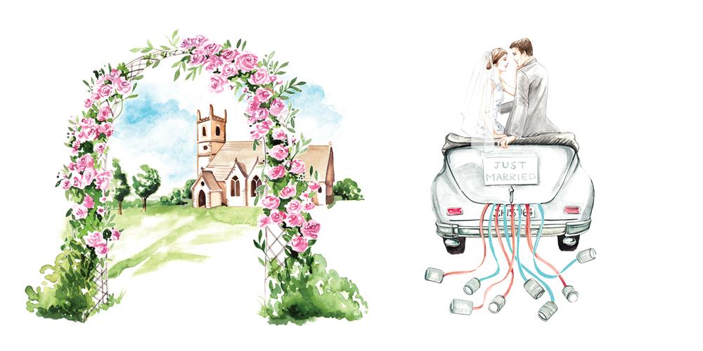 Watercolour wedding illustrations by illustrator Willa Gebbie
