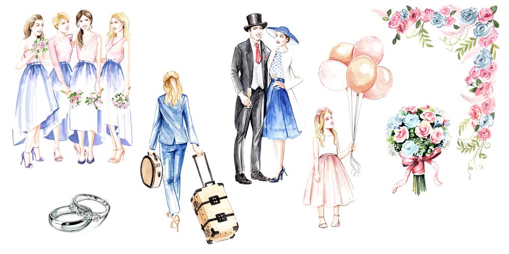 Watercolour wedding illustrations by Willa Gebbie