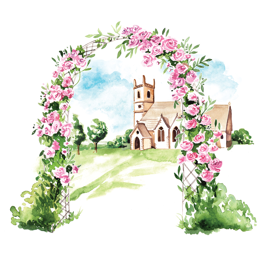 church flowers illustration for Country Life magazine