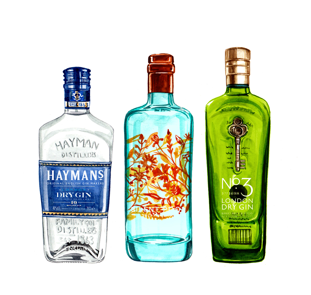 Food illustration and gin