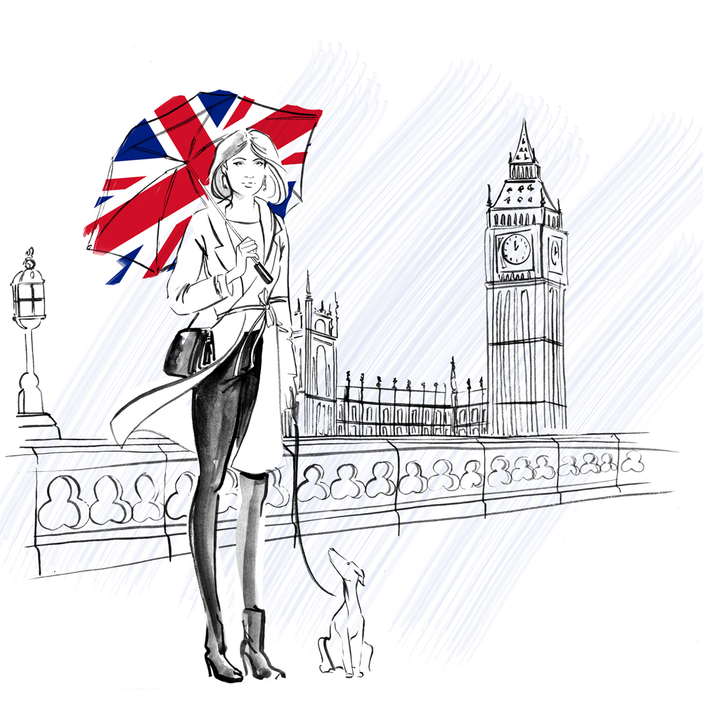 b&w London fashion illustration