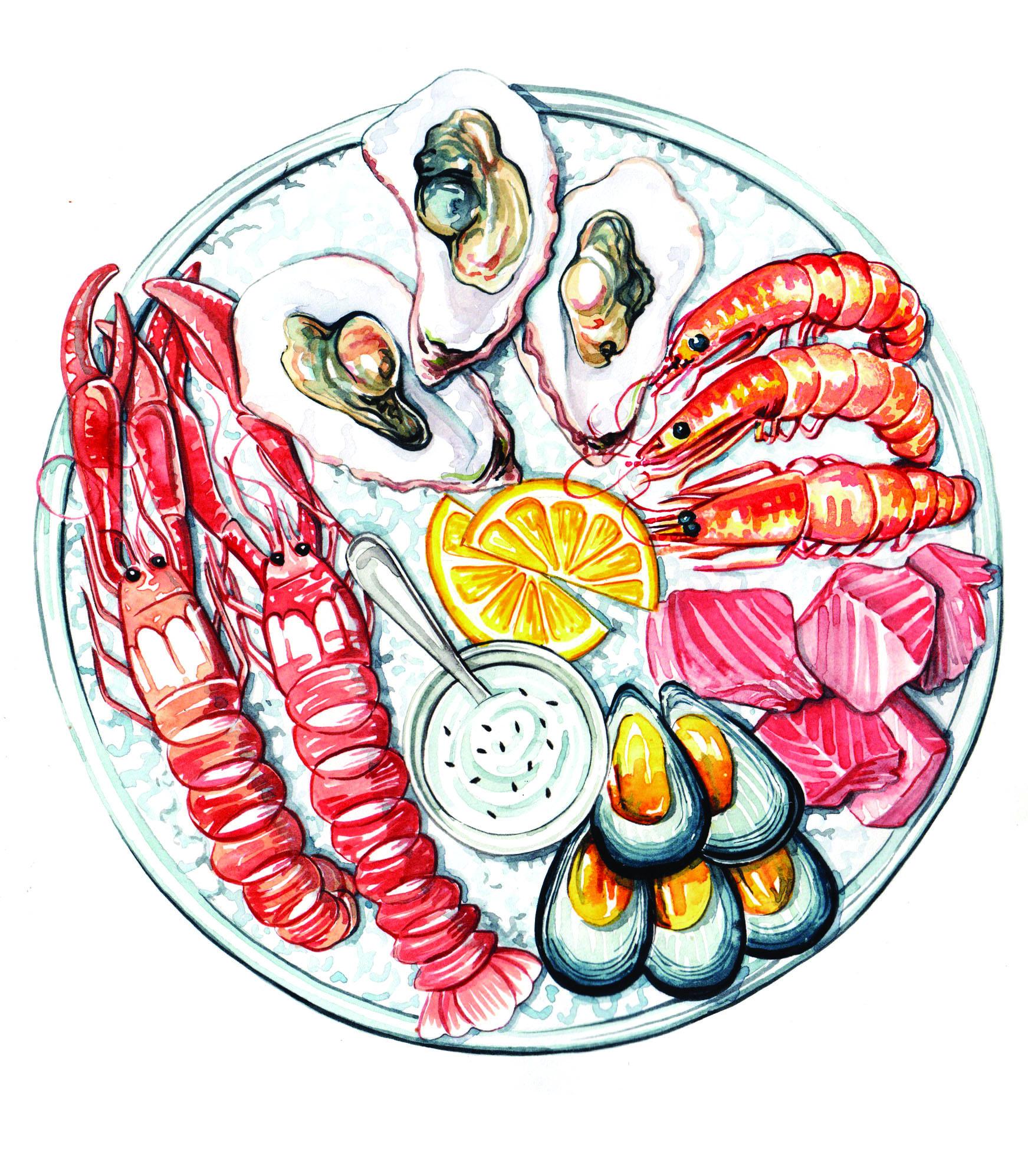 seafood food illustration watercolour
