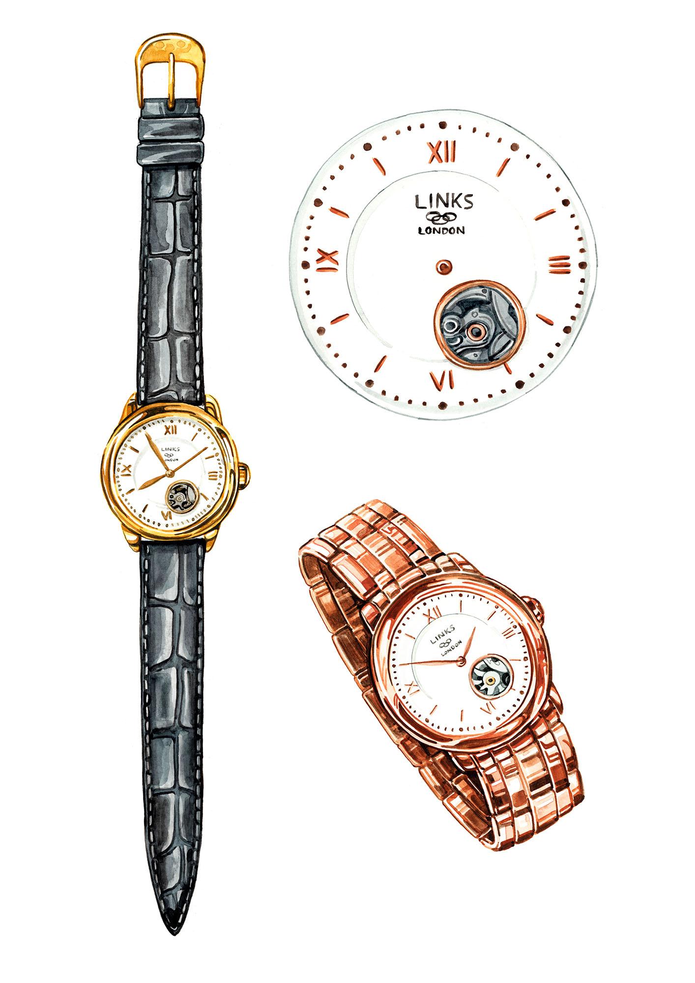 jewellery watch illustration watercolour