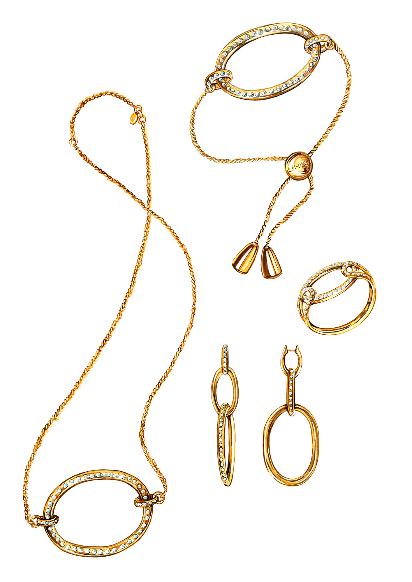 jewellery illustration watercolour