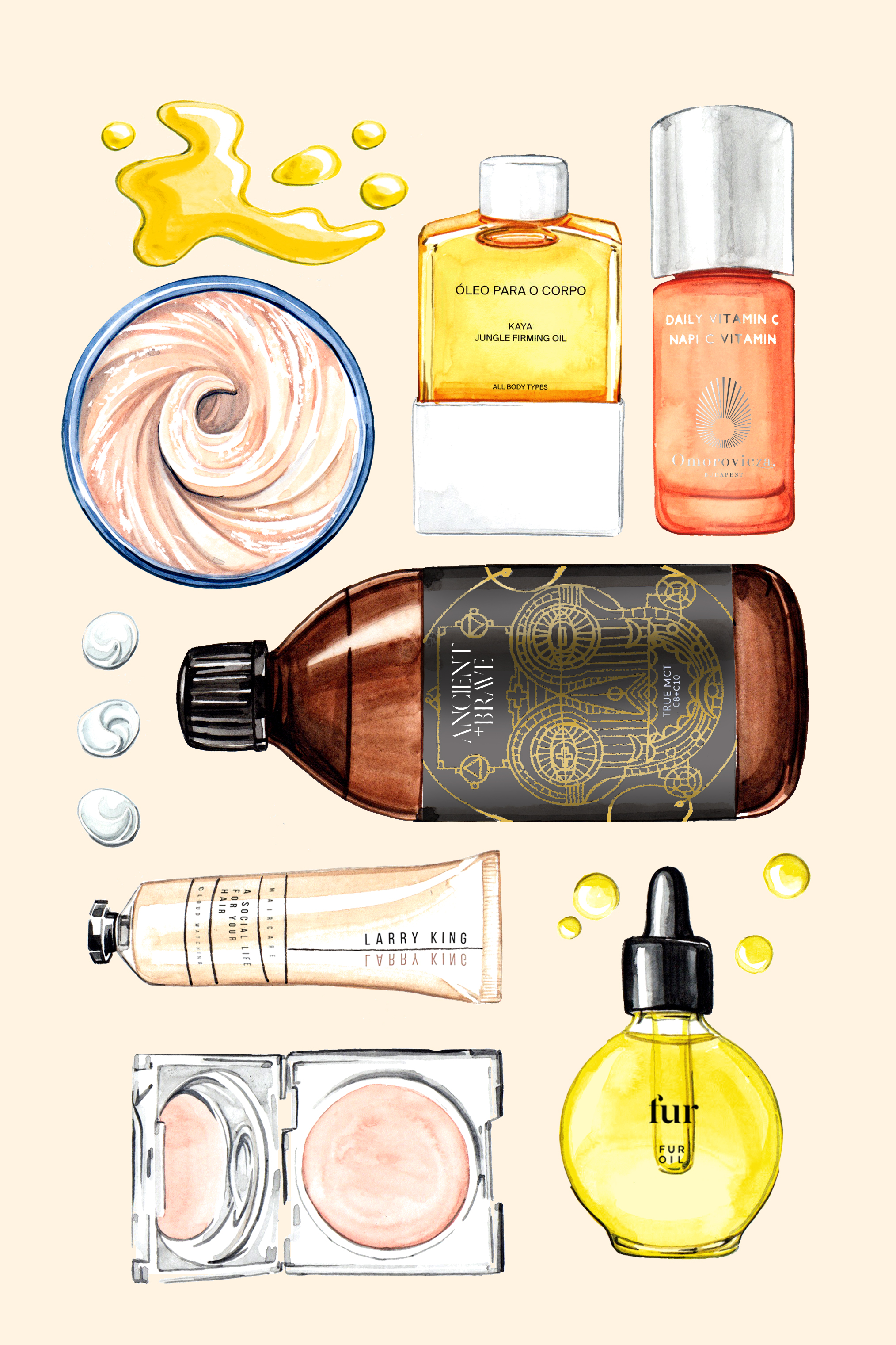 Willa Gebbie watercolour beauty illustrations for Porter magazine