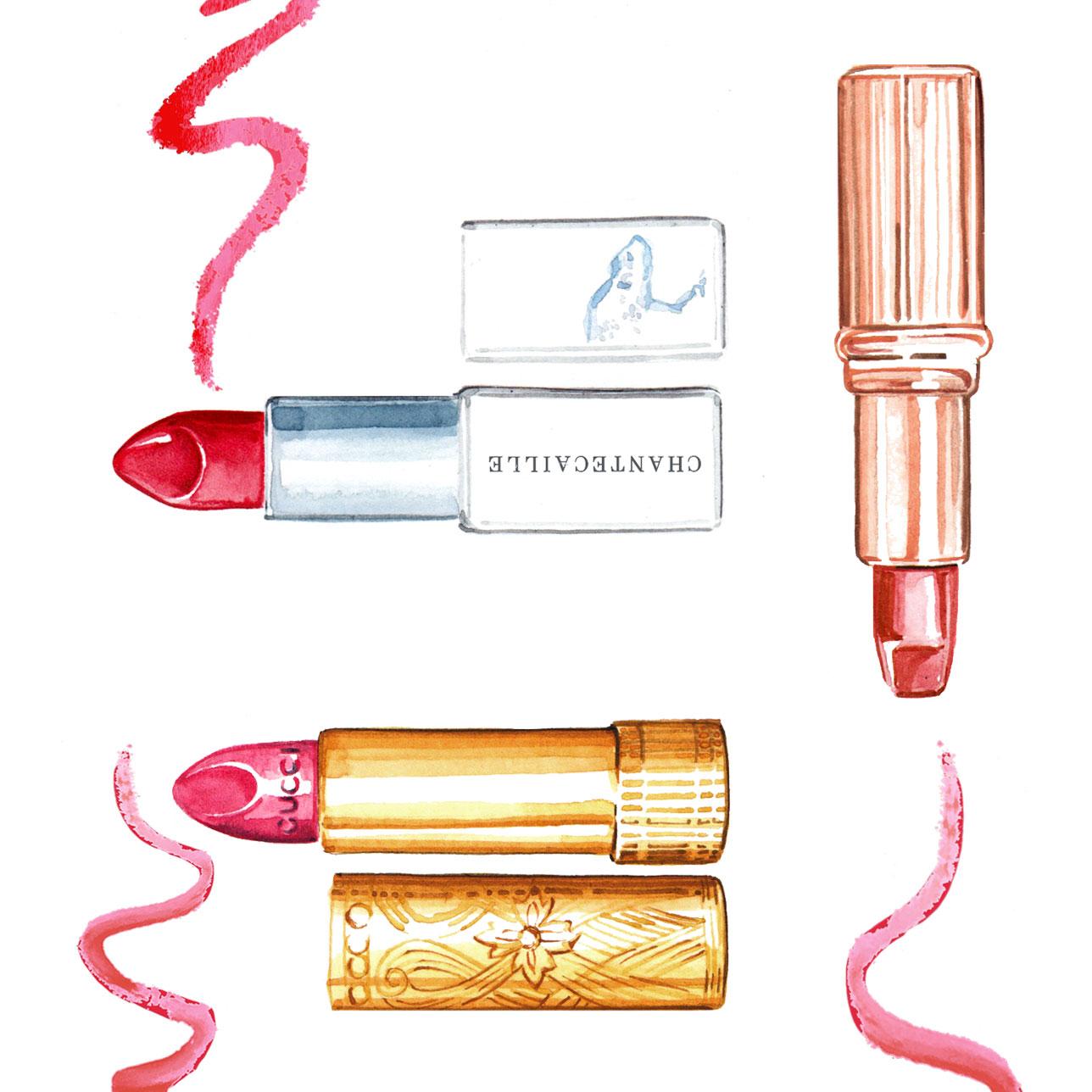 Willa Gebbie watercolour beauty illustrations for Porter digital