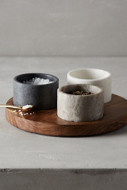 MARBLE SALT + PEPPER POTS