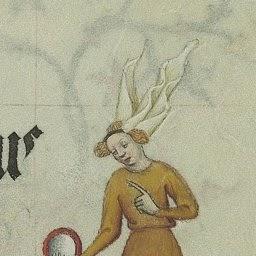 This lady is so fashionable, she even has a medieval glam fan. ;-)  Grandes Heures de Jean de Berry ,f48r. Bibliothèque nationale de France