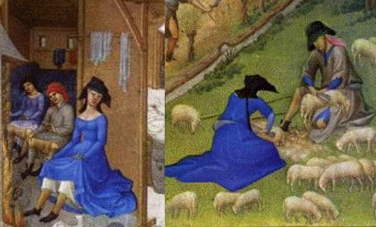 Detail of February (right) and July (left), Tres Riches Heures du Duc de Berry.