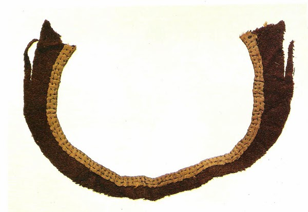 Silk facing on wool, identified as part of a neck opening. 2nd quarter of the 14th century. Medieval Finds from Excavations in London : 4 Textiles and Clothing 1150-1450, Plate 2.