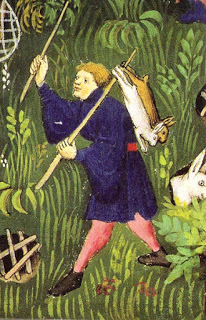 Man hunting rabbits. Gaston Phébus.