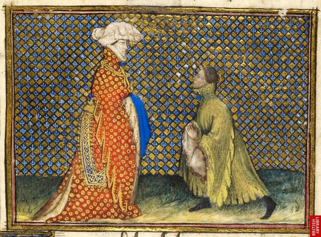 Detail from  La Prinse et mort du roy Richart , The British Library, Harley 1319, f 2. c. 1401-05.