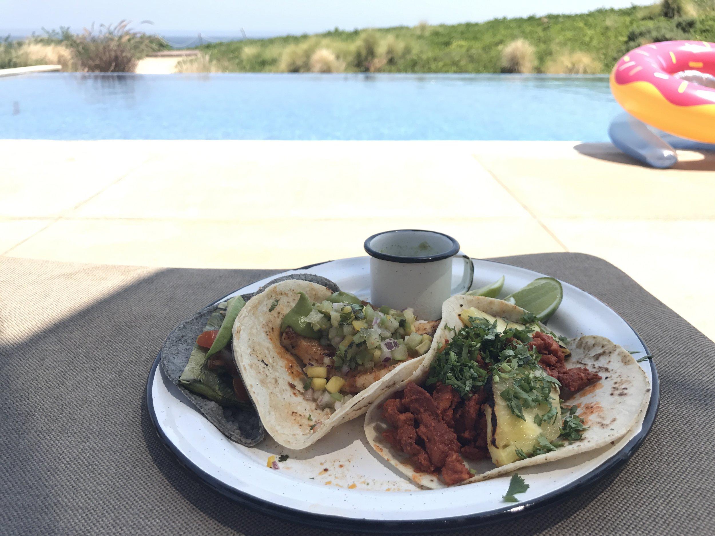 Cactus, fish, and pork tacos. Nak Grill & Bar JW Marriott, San Jose del Cabo