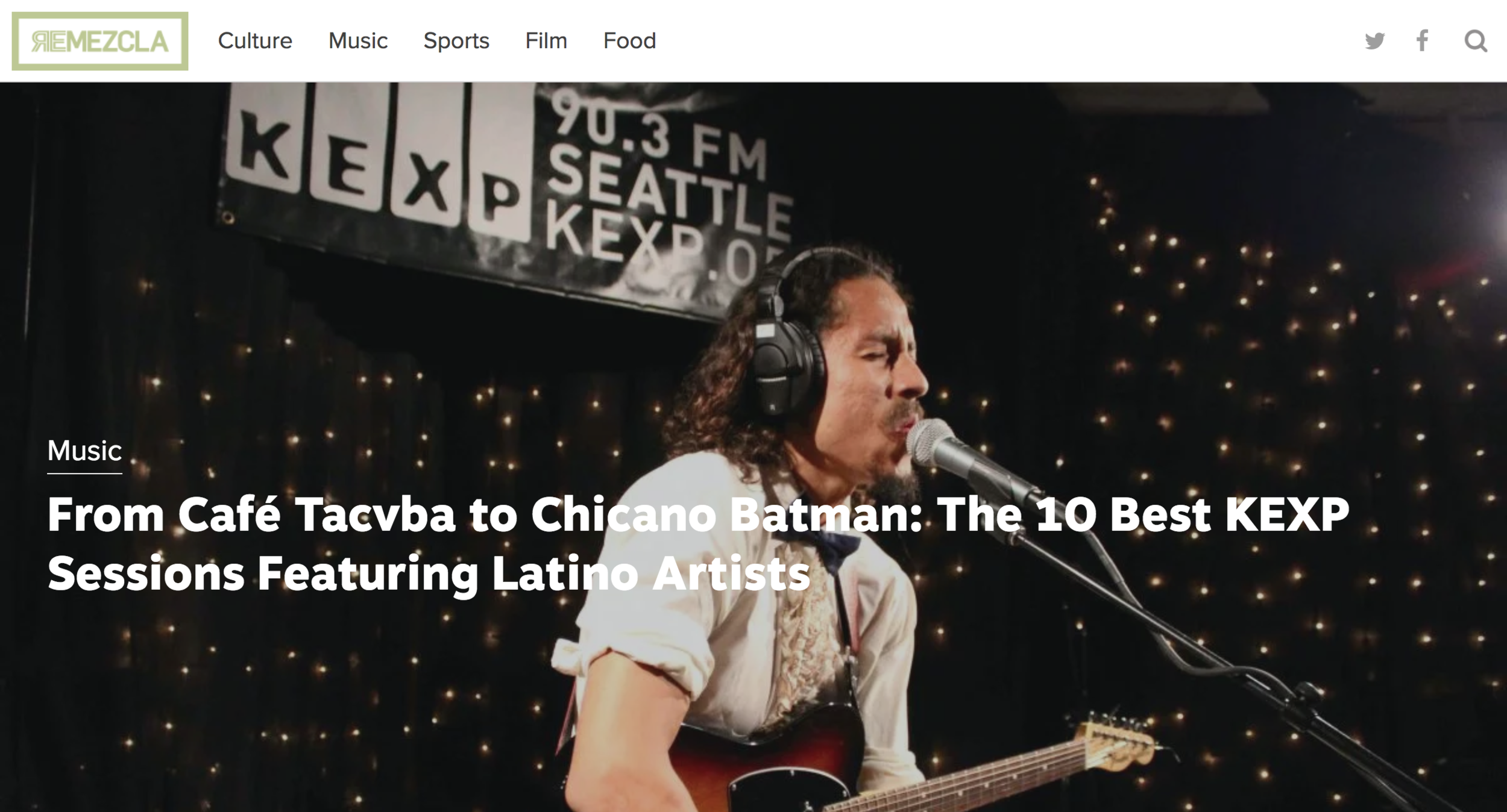 "REMEZCLA - My KEXP show made it on Remezcla's ""Top 10 Best KEXP Sessions featuring Latino Artists"". Truly humbled and speechless to be considered alongside many artists that I admire Helado Negro, Balún, Café Tacvba, Rubio, Sagán…"