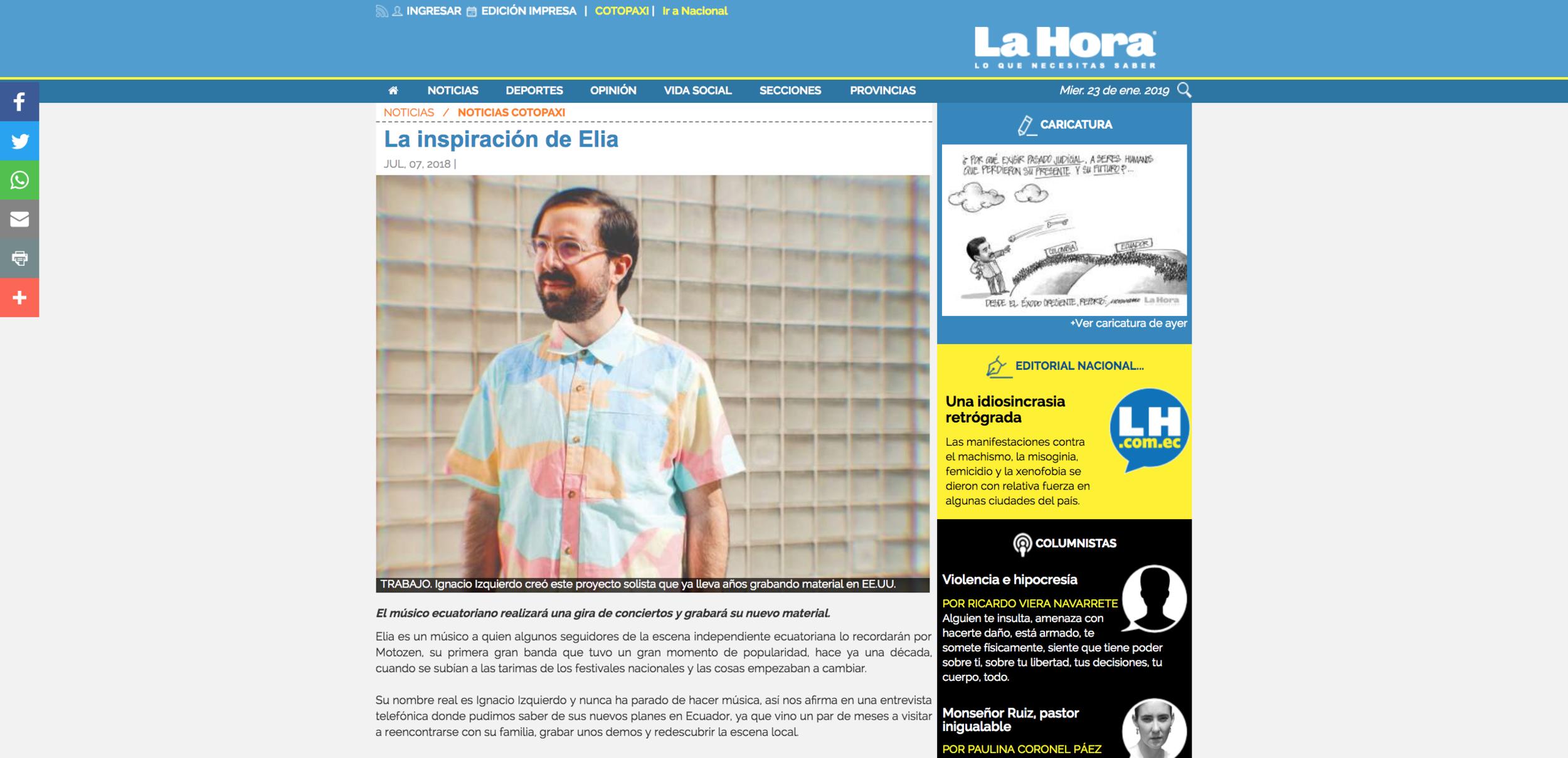"""la hora - """"Elia es un músico a quien algunos seguidores de la escena independiente ecuatoriana lo recordarán por Motozen, su primera gran banda que tuvo un gran momento de popularidad, hace ya una década, cuando se subían a las tarimas de los festivales nacionales y las cosas empezaban a cambiar."""""""