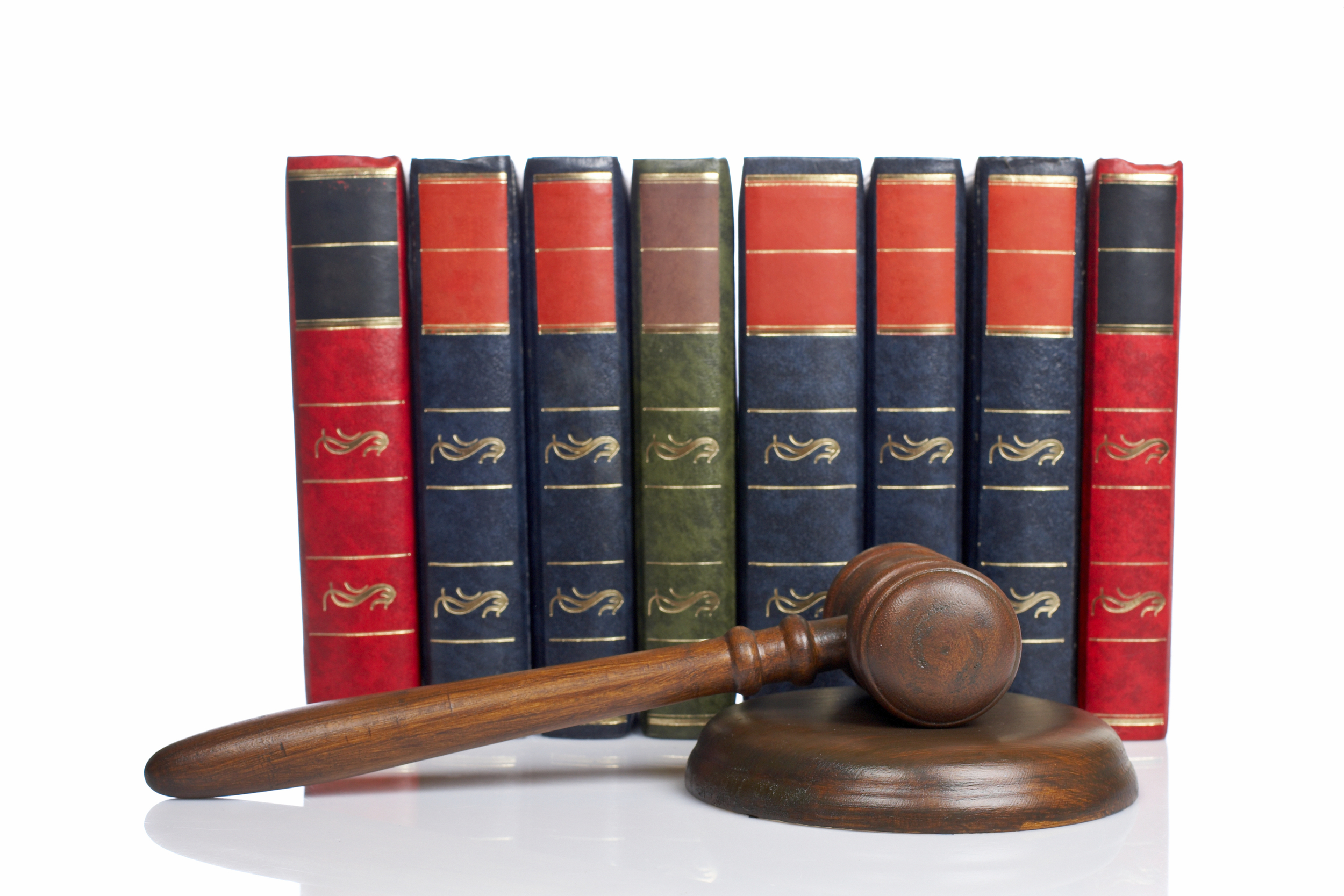 Old Law Books Set Legal Series Textbooks Judges Wooden Gavel Isolated.jpg